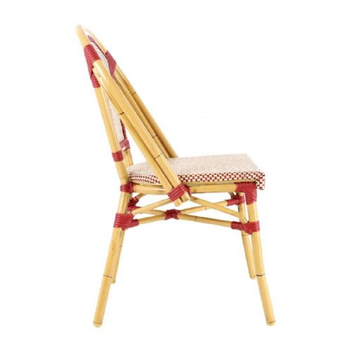 Bolero Continental Bistro Wicker Side Chairs Red & Cream (Pack of 4) - CP431